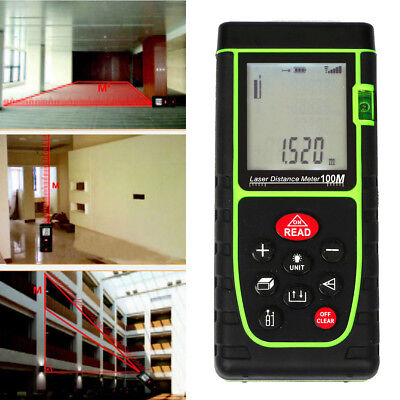 100m Digital Laser Long Distance Meter Measurer Area Volume Range Finder Measure