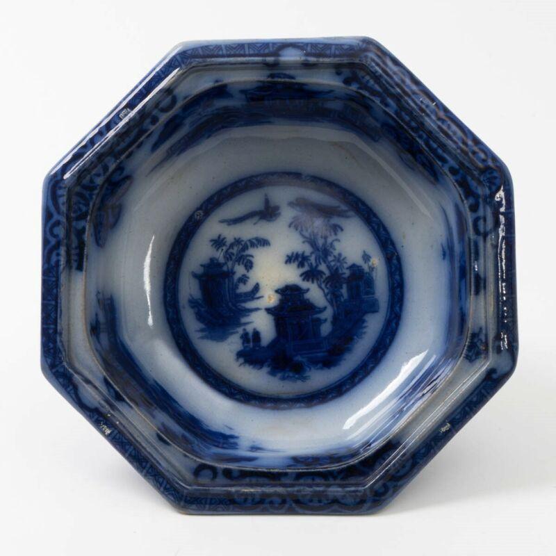 Antique Ironstone Chusan Clementson Flow Blue China 1800