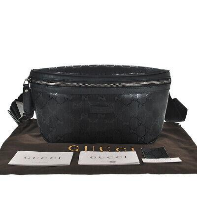 L5 GUCCI Auth GG Imprime Bum Bag Fanny Pack Belt Bag Cross body Pouch Black