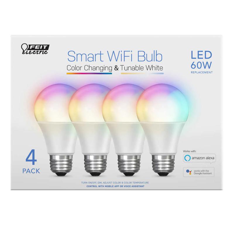 Feit Electric Wi-Fi Smart Bulbs, 4-pack