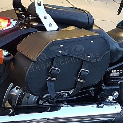 Moto Cuero Negro Alforjas Bolsas Honda VT600 750 Shadow VTX Valkyrie