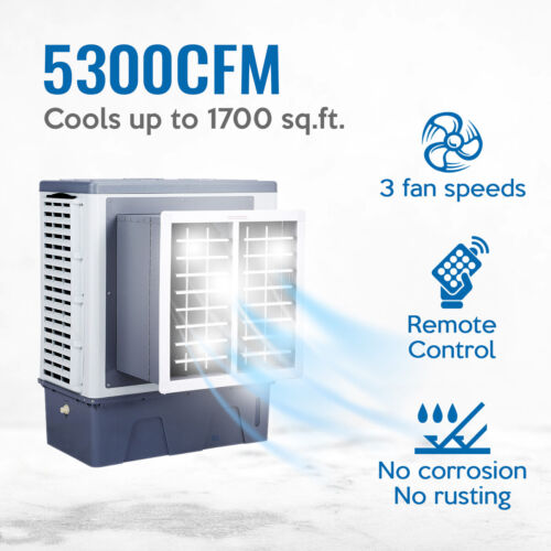 Evaporative Swamp Cooler Window Unit, 5300CFM, Cool up to 1700 sq. ft w/ Remote
