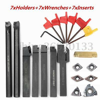 7pcs Set 12mm Lathe Turning Tool Holder Boring Bar Dcmt Ccmt Carbide Insert Us