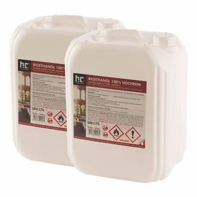 20 Liter (2x10L) Bioethanol Hochrein 100% Alkohol Ethanol Kamin Brennflüssigkeit