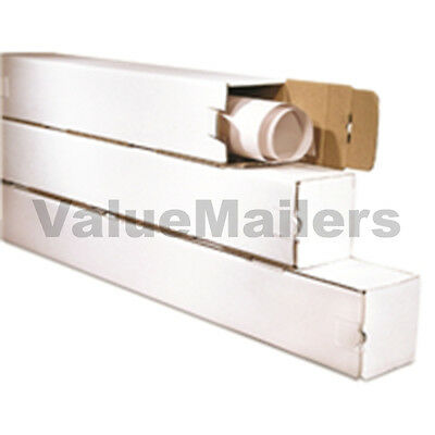 50 3x3x37 White Box Corrugated Square Mailing Tube Shipping Storage Poster Tubes - Poster Storage Box