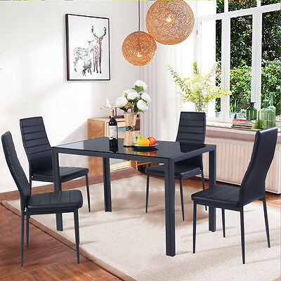 سفرة جديد 5 Piece Kitchen Dining Set Glass Metal Table and 4 Chairs Breakfast Furniture