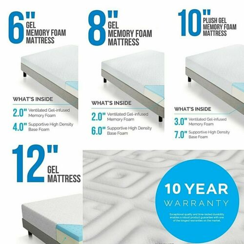 LUCID 6, 8, 10, and 12 Inch Gel Memory Foam Mattress - Twin Full Queen and King