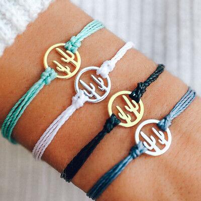 Cactus Wax Line Charm Braided Rope Buckle Adjustable Bracelet Chain Bracelet