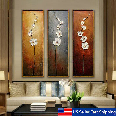 3Pcs Colorful Flower Canvas Abstract Painting Print Art Wall Home Decor  A n US