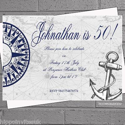 Nautical Birthday Invitations (12 x Personalised Nautical Anchor Birthday Party Invitations |)