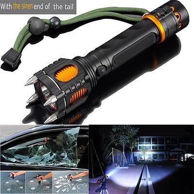 6 Modes 6000Lm Tactical Self Defense Audible Alarm Creee Xm L T6 Led Flashlight