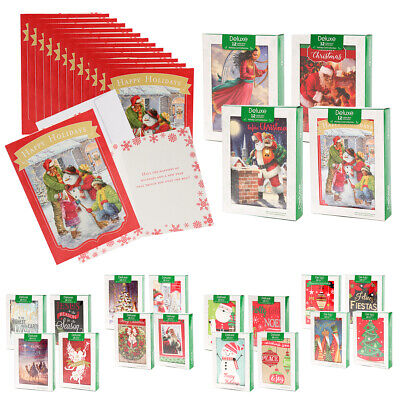 48pk Merry Christmas Cards Bulk Assortment Holiday Card Pack with Foil & Glitter ()