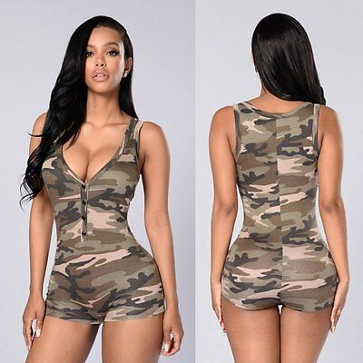 Women Ladies Clubwear Camouflage Playsuit Bodycon Party Jumpsuit&Romper Trousers