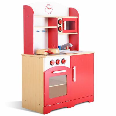 Wooden Kitchen (Goplus Wood Kitchen Toy Kids Cooking Pretend Play Set Toddler Wooden Playset)