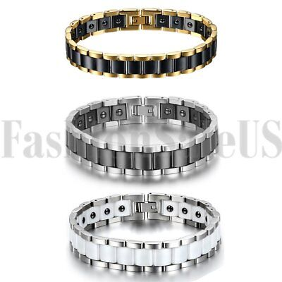 13mm Wide Mens Stainless Steel Ceramic Magnet Charm Health Bracelet Bangle Chain
