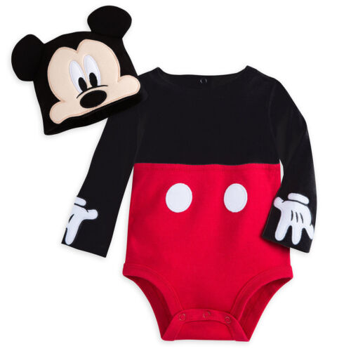 New Disney Store Mickey Mouse Costume Bodysuit Set Baby 0-3-6-9-12-18-24M