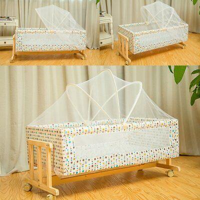 Convertible Portable Baby Crib Wood Nursery Travel Birth Bed Toddler Cradle