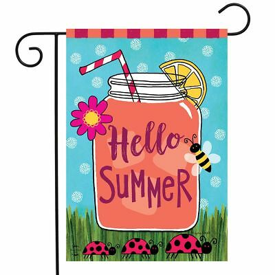 welcome summer lemonade garden flag mason jar