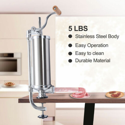 Stainless Steel Vertical Sausage Stuffer Maker Meat Filler  Commercial 5L