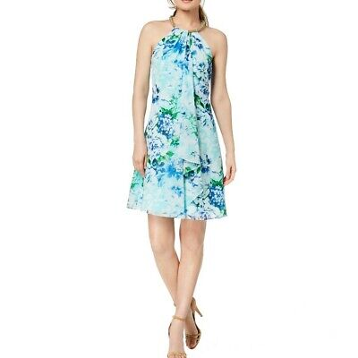 Pleated Shift Dress - CALVIN KLEIN NEW Women's Pleated Floral Halter Embellished Shift Dress TEDO