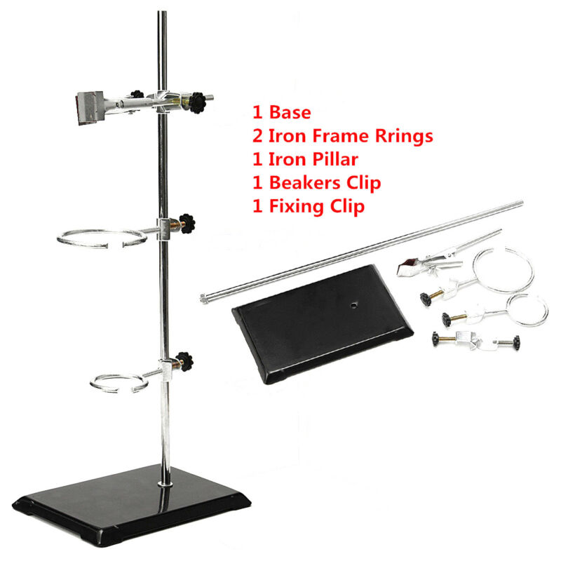 Lab Retort Stands Chemistry Lab Flask Support 2 Ring Platform Stands Tool Set US