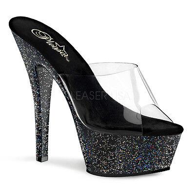 PLEASER Sexy Stripper Dancer Shoes Black Multi Glitter Platform 6