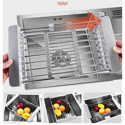 Drain Basket Dish Drying Rack Stainless Steel Telescopic Adjustable Kitchen Sink