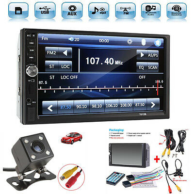 "2 Din 7"" Touch Screen FM Bluetooth Radio Audio Stereo Car Video Player+HD Camera for sale  USA"