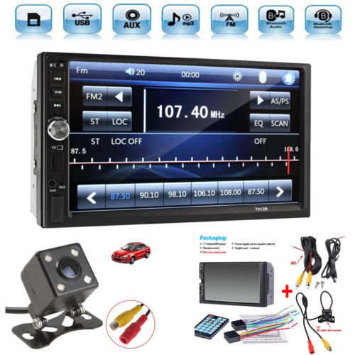 """2 Din 7"""" Touch Screen FM Radio Audio Stereo Car Video Player+HD Camera"""
