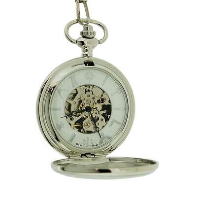 Boxx Gents Silver Tone Masonic Freemasonry Mechanical Pocket Watch 13 Inch Chain