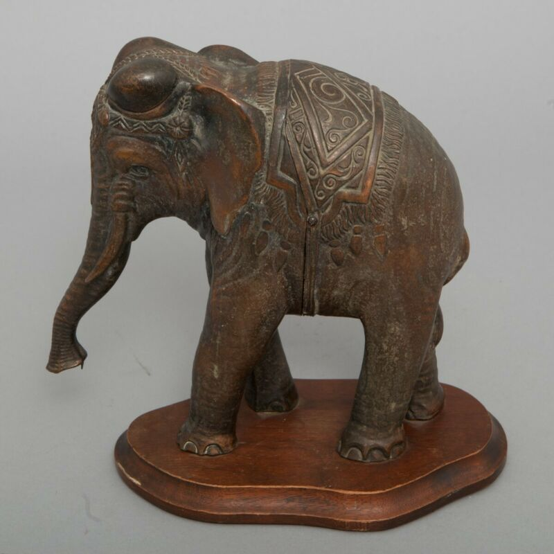 RARE Vintage Bronze Elephant Decanter Walnut Base DeLacy Novelty Co. Metal Clad