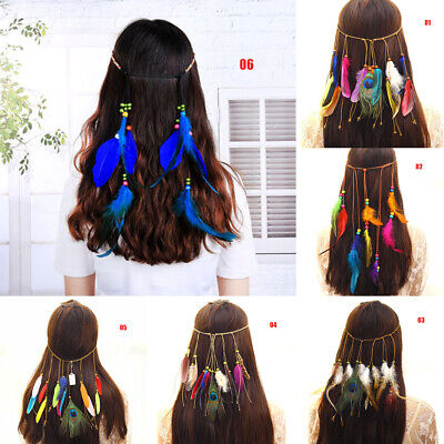 Woman Headbands Feather Headband Hair Bands Accessories Hippie Boho Feathers