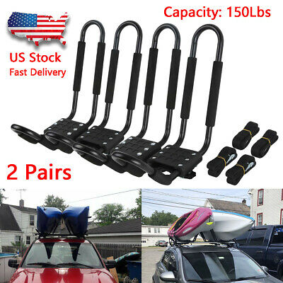 2 Pairs Kayak Carrier Boat Ski Surf Snowboard Roof Mount Car Cross J-Bar -