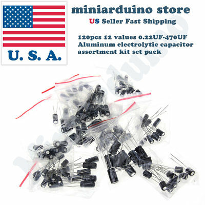 120pcs 12 Values 0.22uf-470uf Aluminum Electrolytic Capacitor Assortment Kit