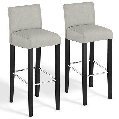 Set of 2 Fabric Bar Stool Pub Chair Bar Height Padded Seat S