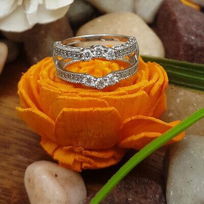 0.80Ct Round Cut Diamond 14k White Gold Over Wedding Band Enhancer Guard Ring#13 Cut White Diamond Band