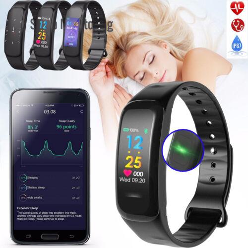 Fitness Armband mit Pulsmesser Wasserdicht IP67 Tracker Smartwatch Uhr Bluetooth