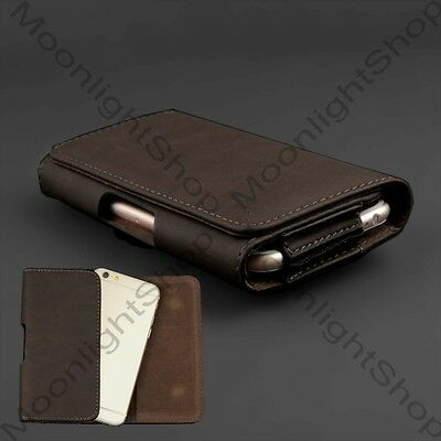 Premium Brown PU Leather Case Pouch Belt Clip Flip Cover for Apple iPhone 6, 6S