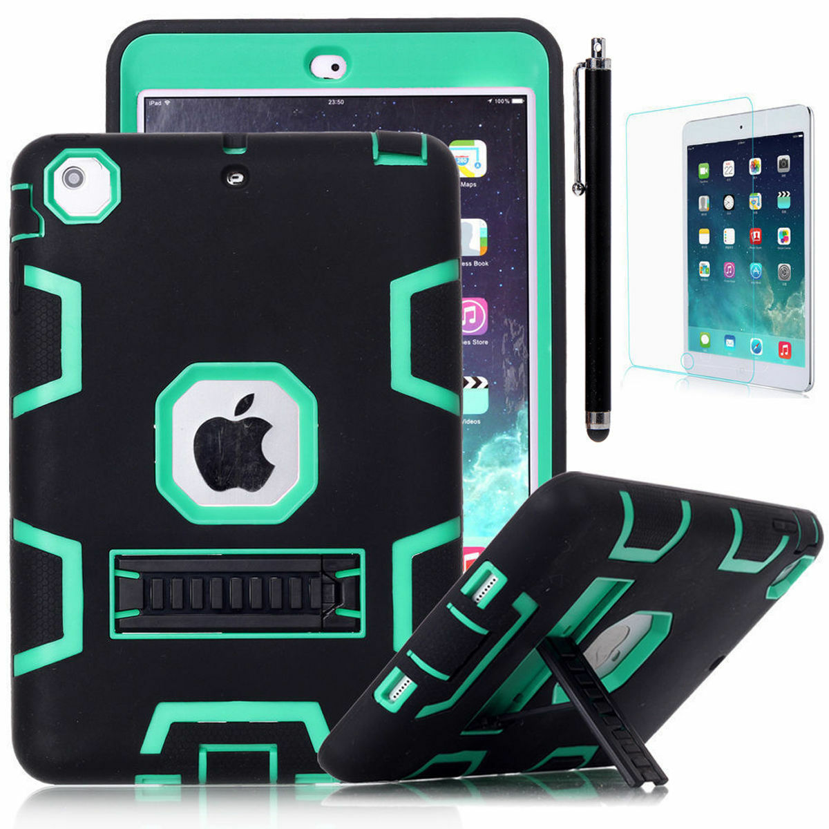 Shockproof Military Heavy Duty Rubber With Hard Stand Case Cover For Apple iPad