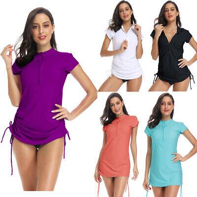 Women's UV Sun Protection Half Zipper Short Sleeve UV Rash Guard Swim Shirt (Women's Swim Short Bathing Suits)