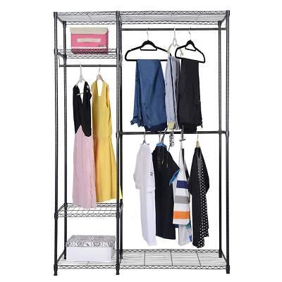 "48""x18""x71"" Closet Organizer Garment Rack Home Shelf Portable Clothes Hanger"