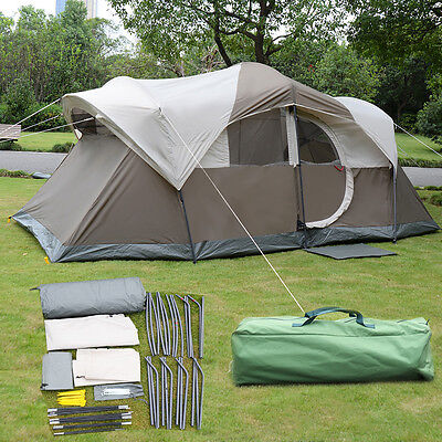 10 Person Waterproof Camping Tent Double Layer Family Outdoor Hiking W/Carry Bag