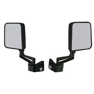 Black Manual Side View Door Mirrors Left/Right Pair Set for 87-02 Jeep Wrangler