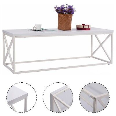 Rectangular Accent Coffee Table Modern Contemporary Living Room Furniture White