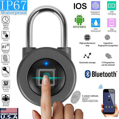 Waterproof Fingerprint Padlock Smart APP Bluetooth Lock Door Keyless Portable