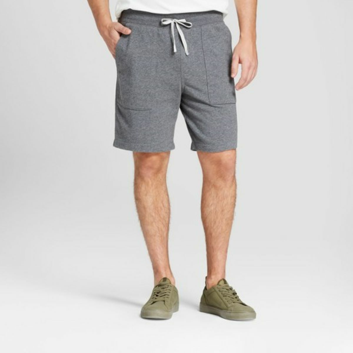 Mens French Terry Knit Shorts Summer Lounge Dark Grey Small
