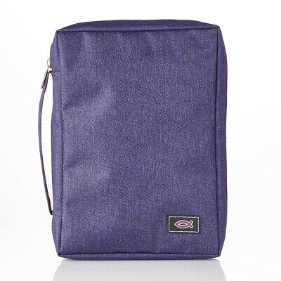 Purple Bible Cover (Purple Poly-Canvas Value Bible Cover with Fish Badge, Size)