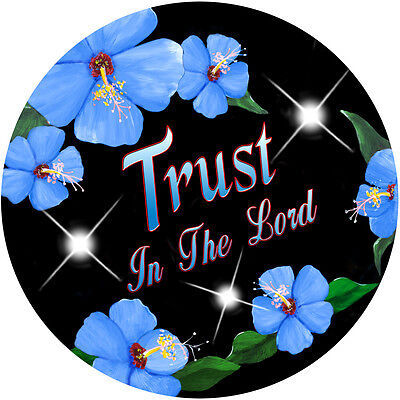 Blue Hibiscus Trust In The Lord Custom Round Mouse Pad Gifts Personalize Flowers