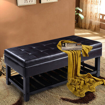 Storage Bed Bench Shoe Rack Ottoman Organizer Entryway Furniture PU Leather
