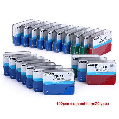 100pcs Dental Diamond Burs Kit Medium Fg 1.6mm For High Speed Handpiece Polish